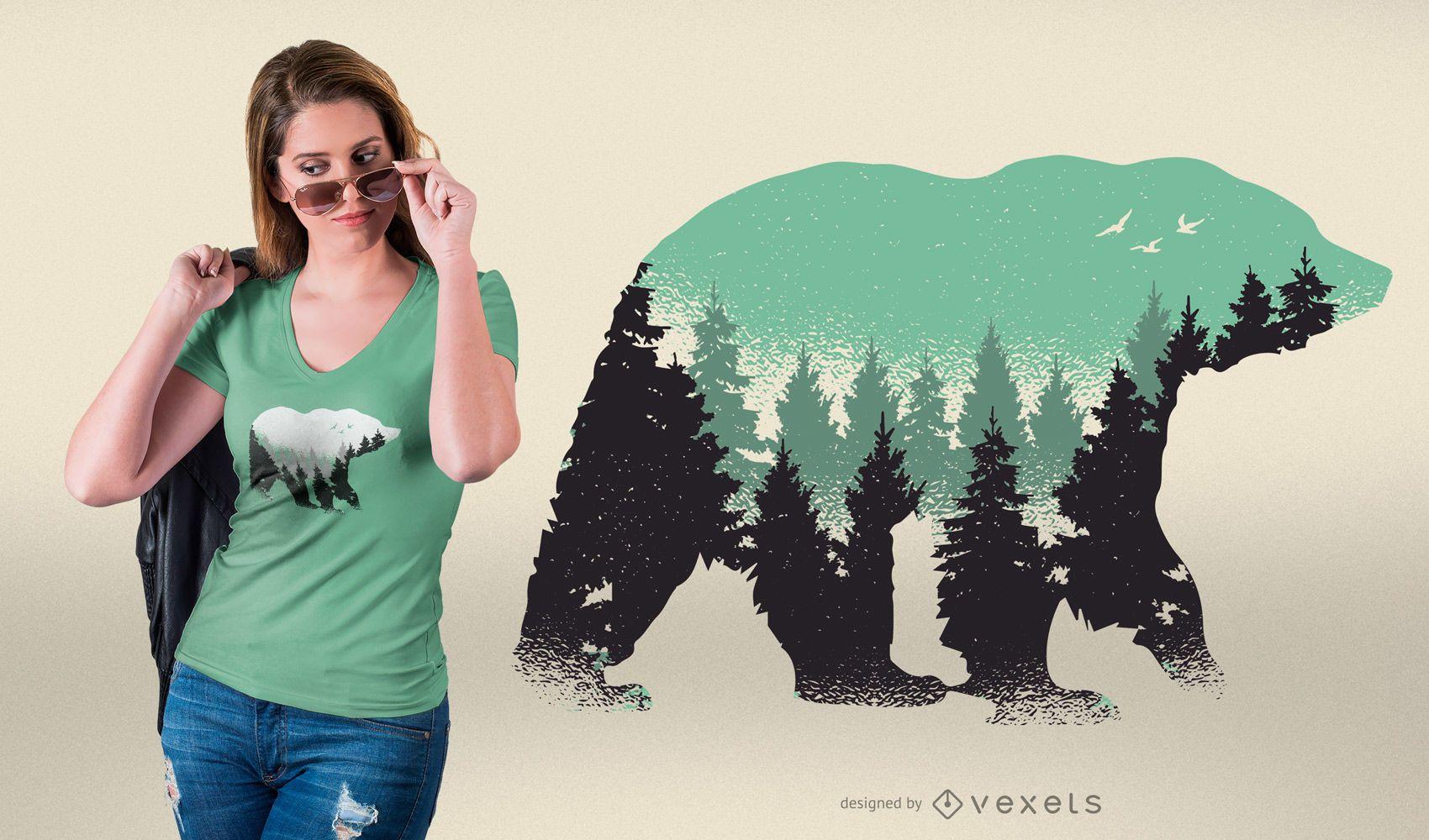 Desenho de camiseta da floresta do urso