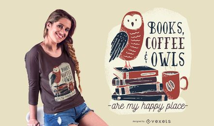 Diseño de camiseta de libros café búhos.