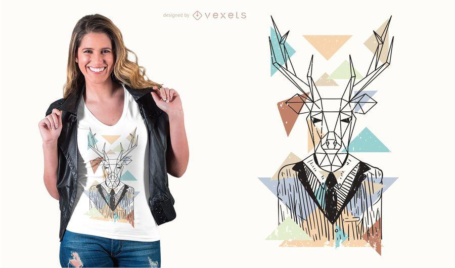 Diseño de camiseta de ciervo geométrico.