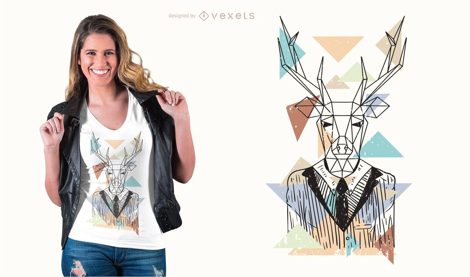 Geometric deer t-shirt design