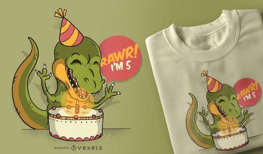 Design de t-shirt de dinossauro de aniversário