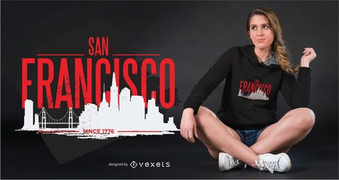 Design do t-shirt da skyline de San Francisco