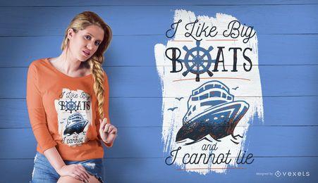 Diseño de camiseta de barcos grandes.