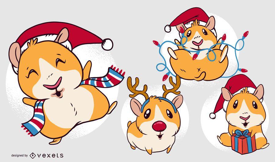 Conjunto de desenhos animados de Natal de cobaia
