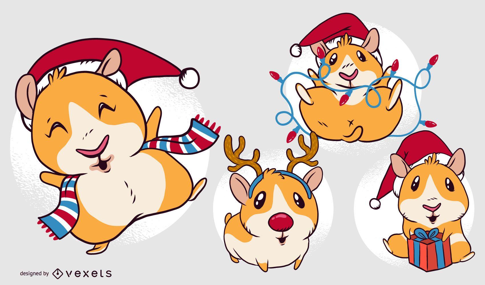 Guinea pig Christmas cartoon set