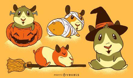 Conjunto de dibujos animados de cobaya de Halloween