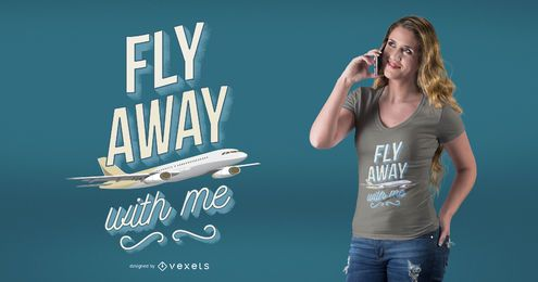 Diseño de camiseta de aviador plano cita