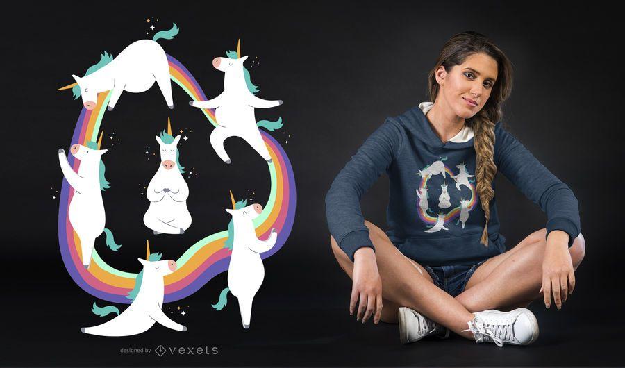 Diseño de camiseta de yoga unicornio.