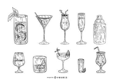 Conjunto de bebida cocktail mão desenhada