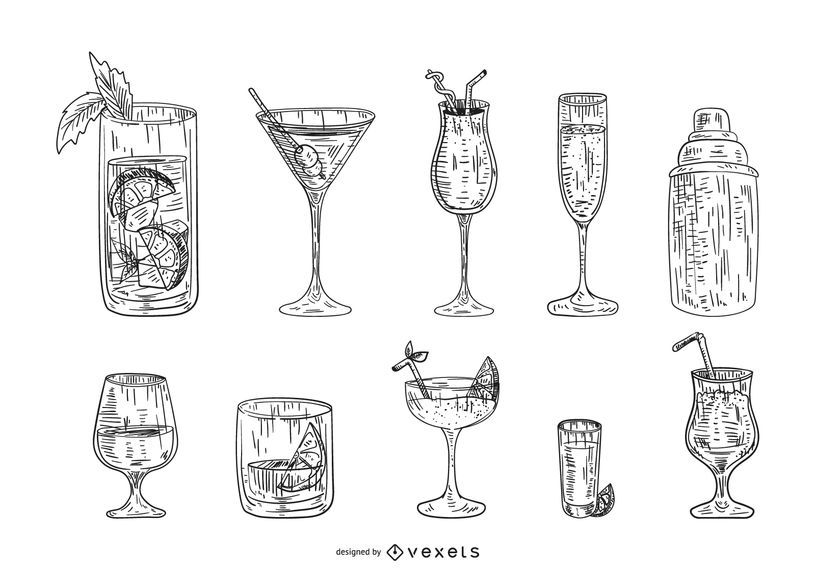 Hand drawn cocktail drink set