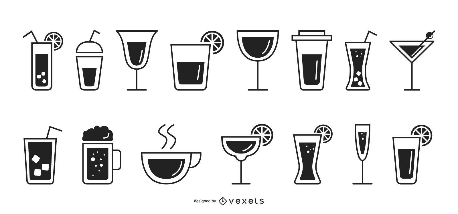 Conjunto de iconos planos de bebidas