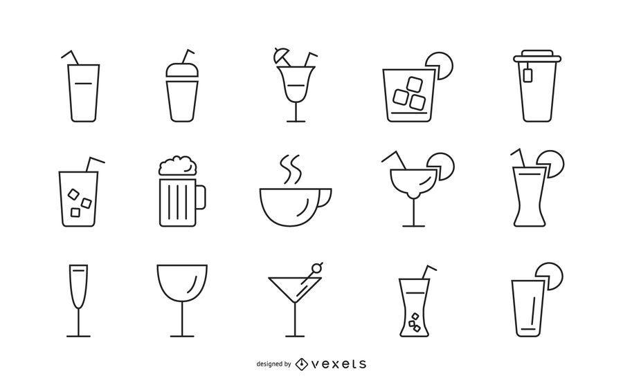 Conjunto de iconos de trazo de bebidas