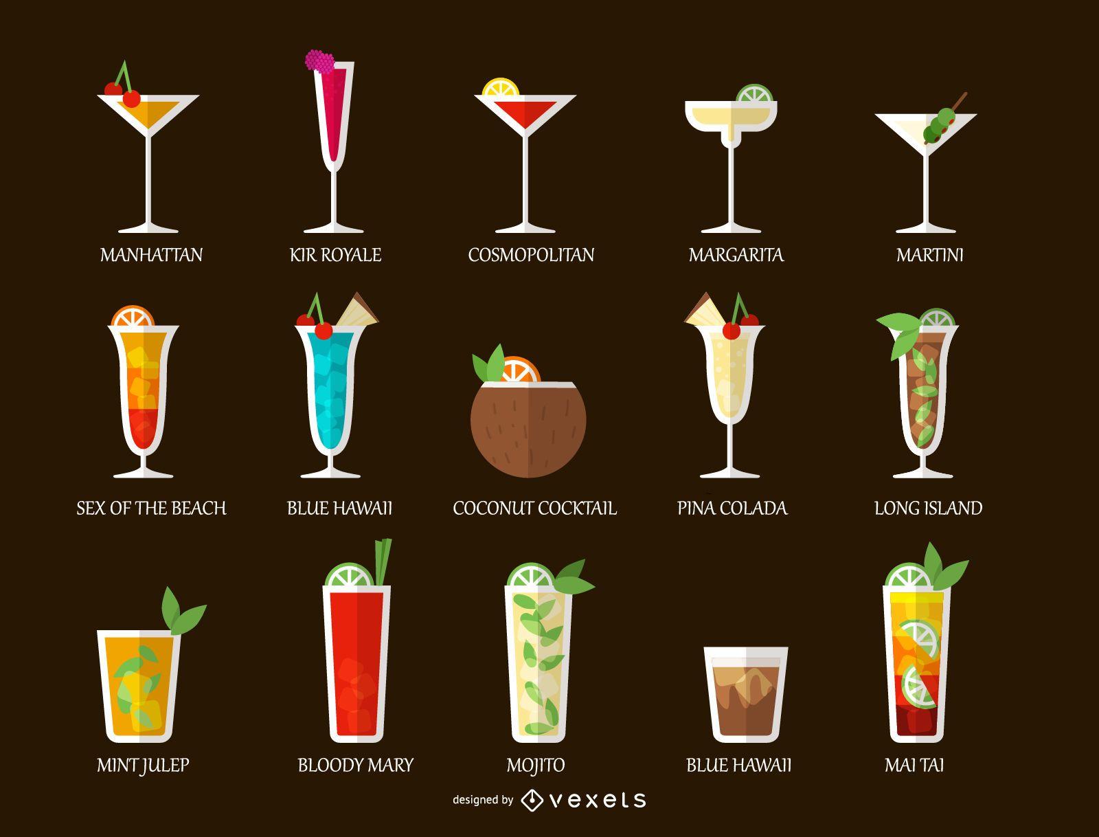 Conjunto de bebidas alcohólicas cóctel