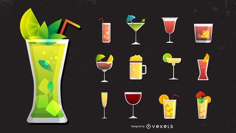 Conjunto de ícones de coquetel e bebidas