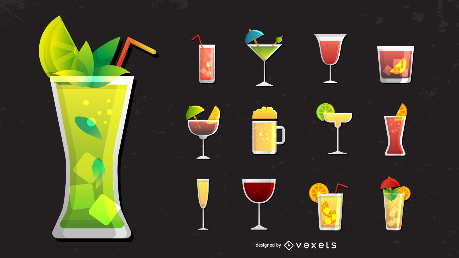 Cocktail and drinks icon set