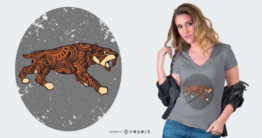 Saber-tooth Tiger Mandala Style T-shirt Design