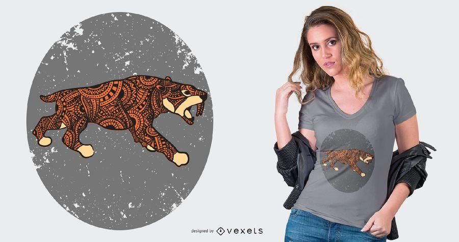 T-Shirt-Design mit Säbelzahntiger-Mandala-Stil