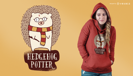Diseño de la camiseta de la parodia del potter del erizo