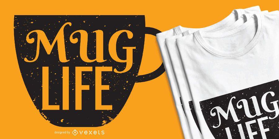 Diseño de la camiseta del amante del café de la vida de la taza