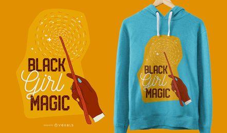 Projeto mágico do t-shirt da menina preta