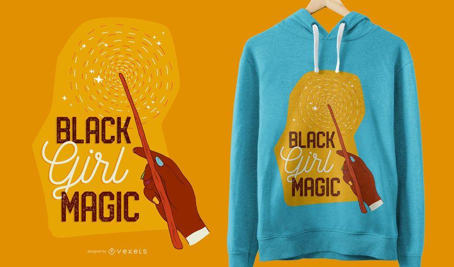 Diseño de camiseta mágica de niña negra