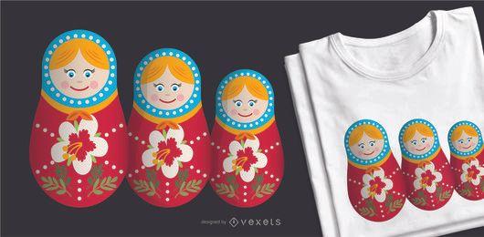 Juego de muñecas Matryoshka con diseño de camiseta