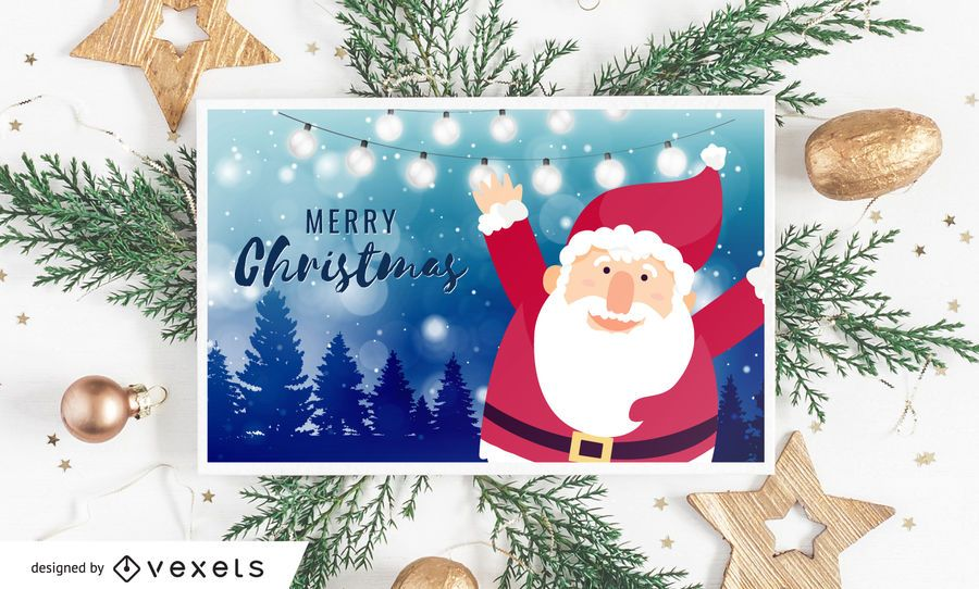 Santa Merry Christmas Card Design