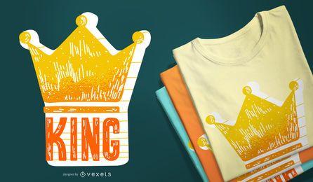König mit Kronen-T-Shirt-Design
