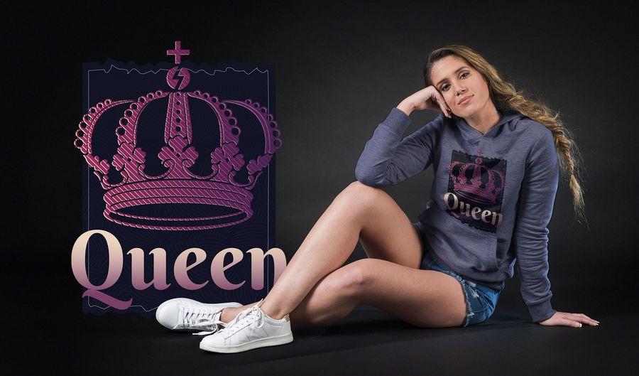 Projeto escuro do t-shirt da coroa da rainha