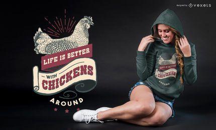 Diseño de la camiseta del vintage de la vida de granja de pollo