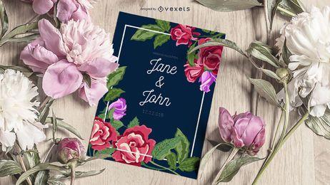 Design de cartão de convite de casamento estilo flores em aquarela