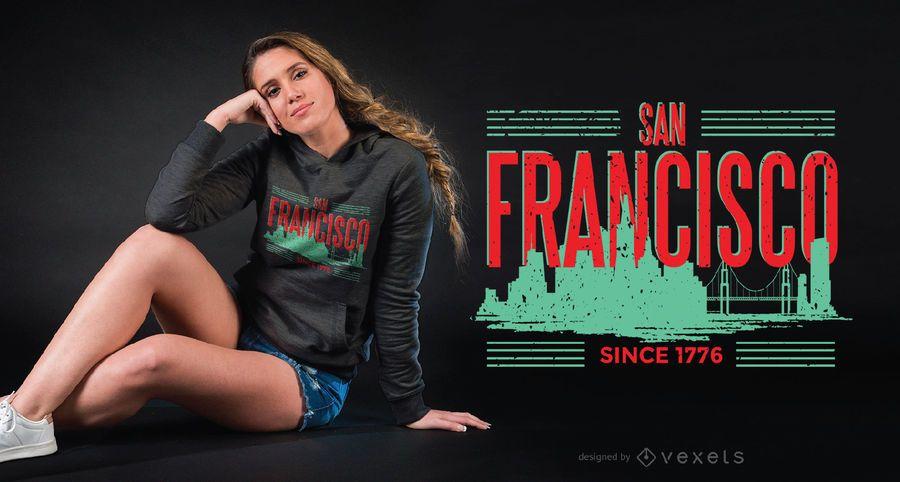 Design do t-shirt da skyline do verde de San Francisco