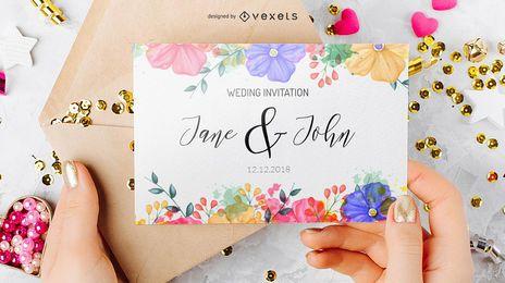 Design de convite de casamento em estilo aquarela