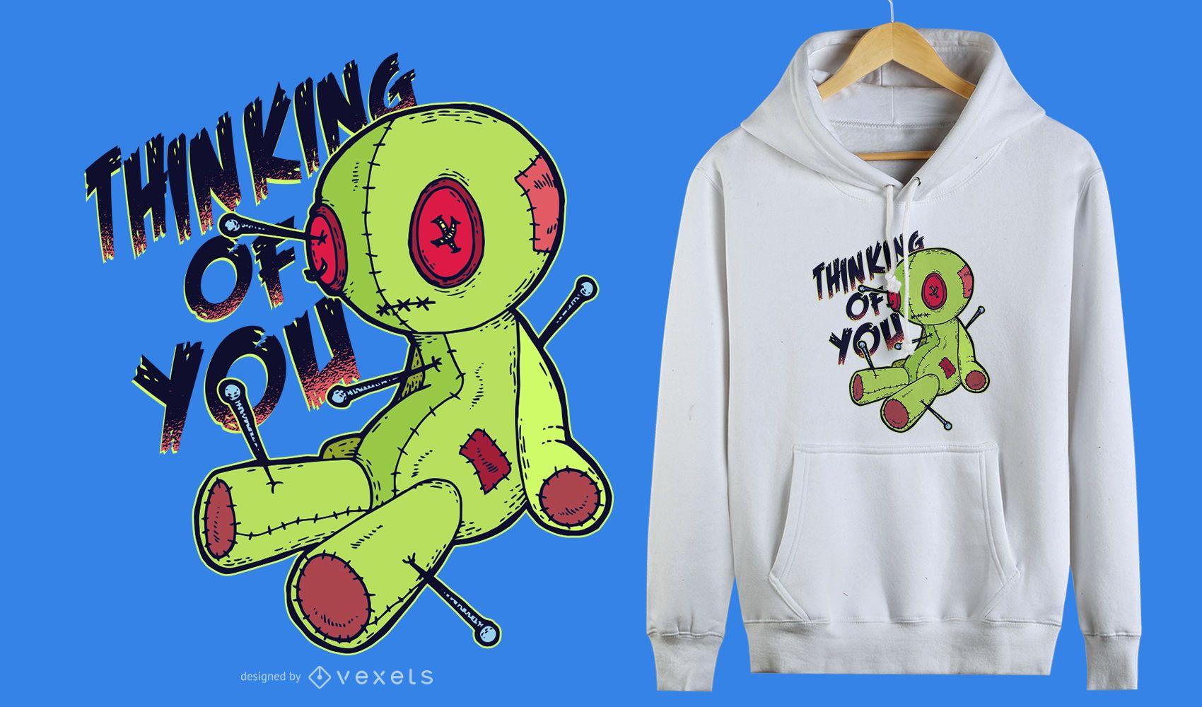 Diseño de camiseta divertida de muñeco vudú