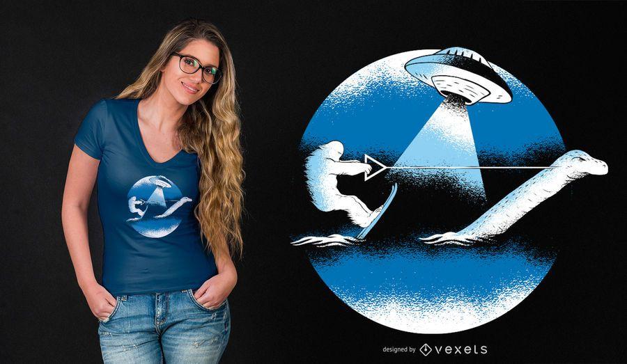 Esquí acuático de Bigfoot con el diseño divertido de la camiseta del monstruo de Loch Ness
