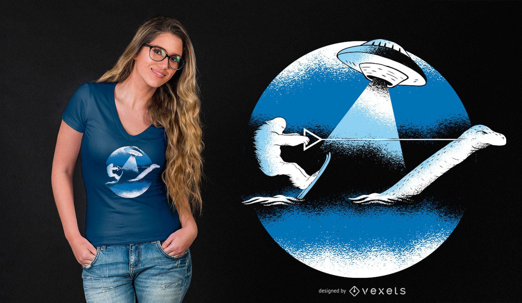 Design de camiseta engraçada de esqui aquático Bigfoot com monstro de Loch Ness