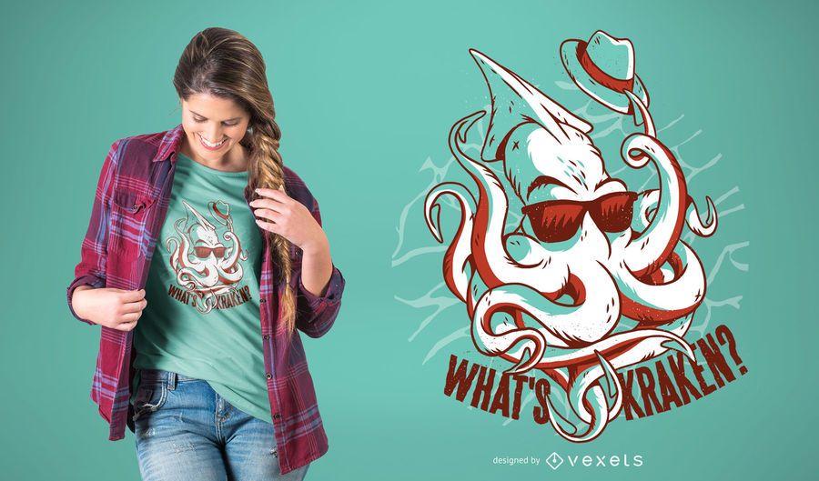 Projeto engraçado do t-shirt do monstro de Kraken