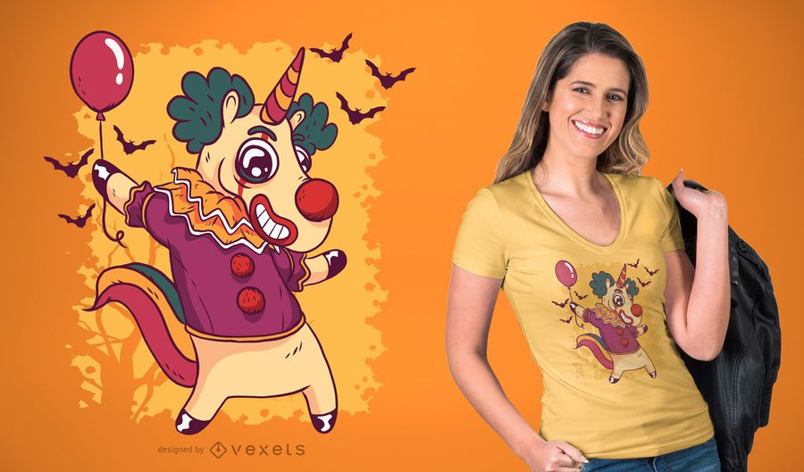 Diseño de la camiseta de Halloween del payaso del unicornio
