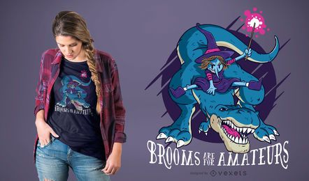 Bruja en T-rex Diseño divertido de la camiseta de Halloween