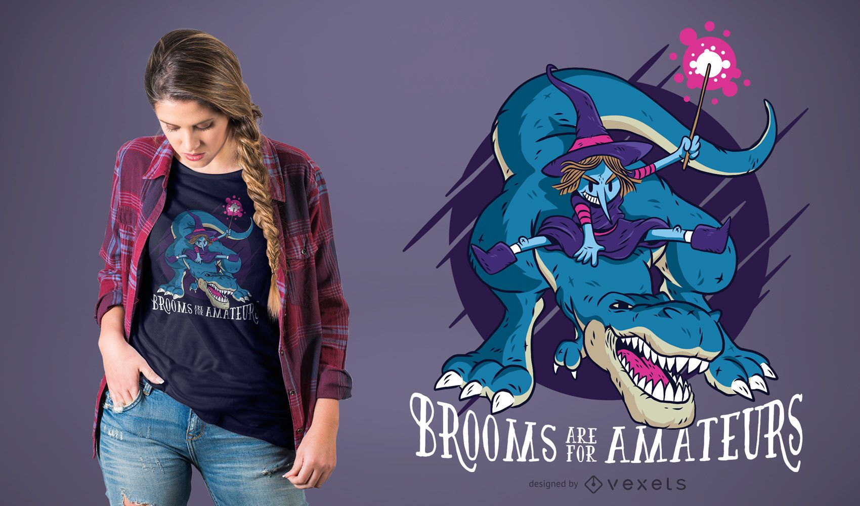 Witch on T-rex Funny Halloween T-shirt Design