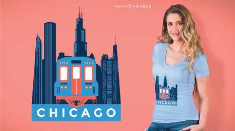 Projeto do t-shirt do trem de Chicago