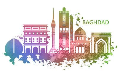 Baghdad Watercolor Skyline Design