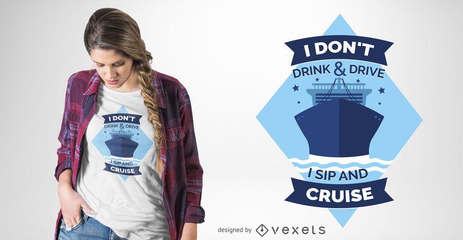 Diseño divertido de la camiseta del barco de cruceros