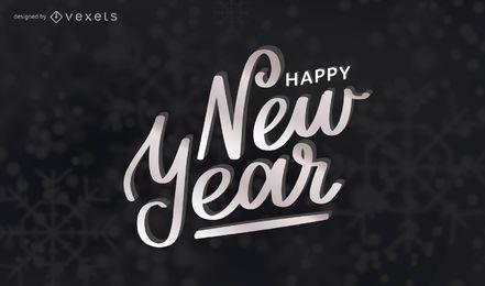 Frohes neues Jahr künstlerische Beschriftung