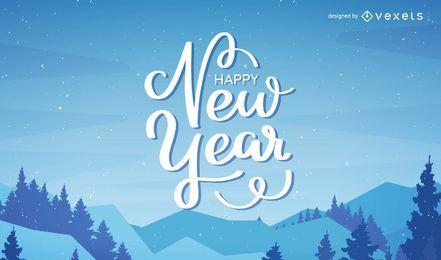 Feliz Ano Novo lettering vector