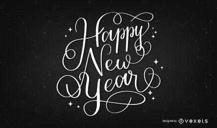 Feliz año nuevo diseño de letras