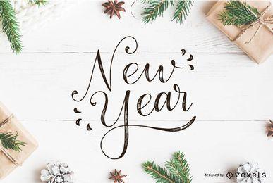 Neujahrs-Beschriftungsvektor