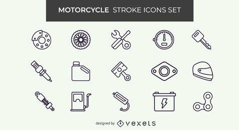 Conjunto de iconos de trazo de motocicleta