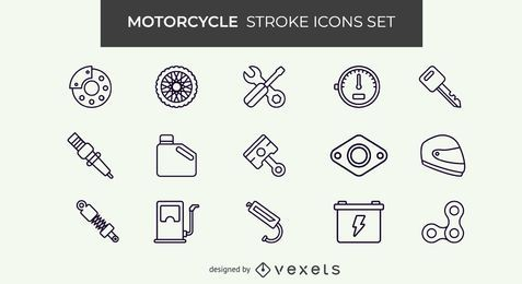 Motorcycle stroke icon set