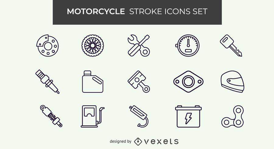Motorcycle stroke icon set